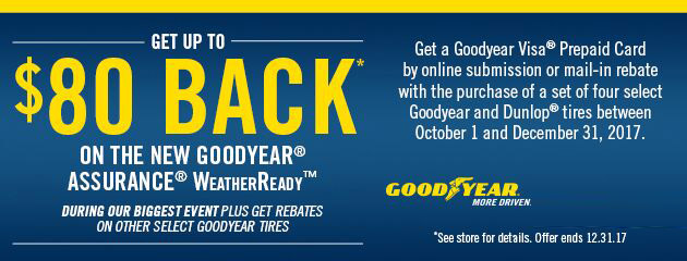 Goodyear Get Up to $80 Back On Select Tires