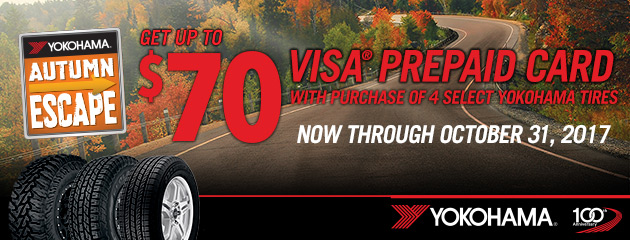 Yokohama Up to $70 Back When Purchasing Select Tires