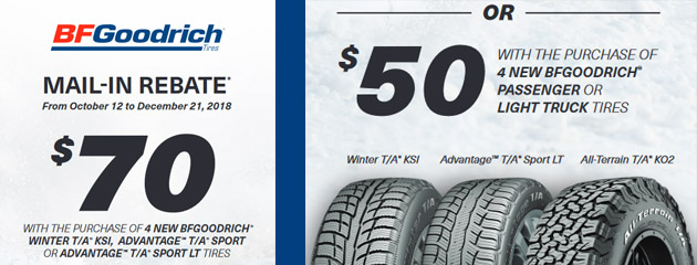 BFGoodrich - $50 or $70 Reward on Select Tires