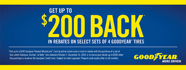 Goodyear CC - Up to $200 Back on Select Tires