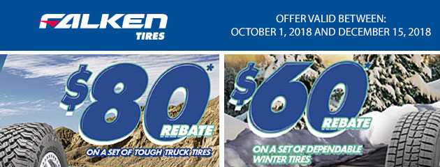 Falken Tires Canada - Up to $80 Rebate