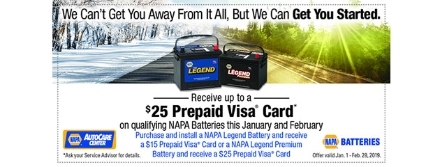 NAPA - Up to $25 Prepaid Visa on Qualifying NAPA Batteries
