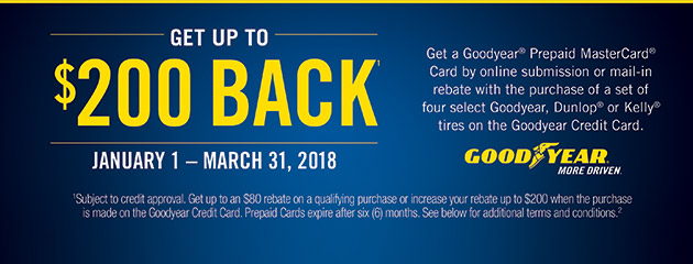 Goodyear CC - Up to $200 Back on 4 Select Tires