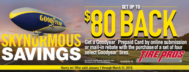Goodyear Tire Pros - Up to $80 Back on 4 Select Tires