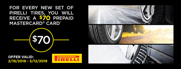 Pirelli - $70 Prepaid Mastercard With Purchase of 4 Tires