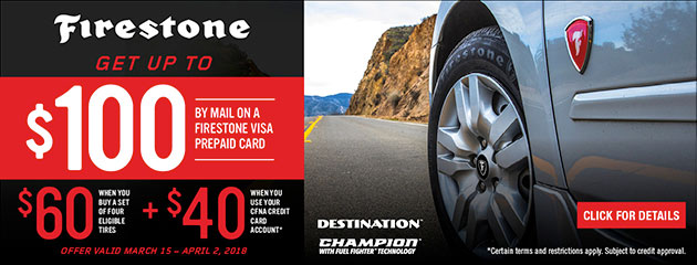 Firestone - Up to $100 Back on 4 Select Tires CFNA