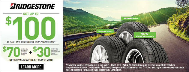 Bridgestone - $70 Back on 4 Select Tires - CFNA