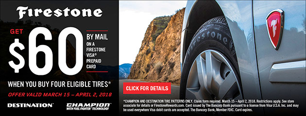 Firestone - $60 Back on 4 Select Tires