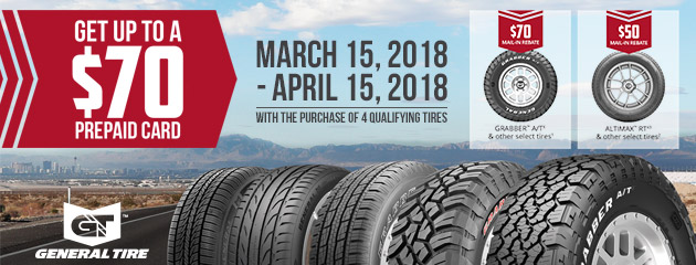 General Tire - Up to $70 Rebate