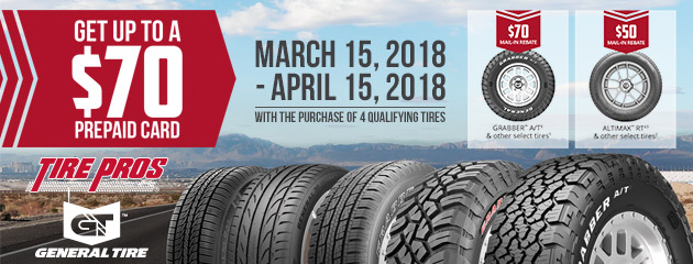 Tire Pros General Tire - Up to $70 Rebate