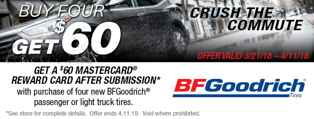 BFGoodrich - $60 Reward Card on 4 New Tires