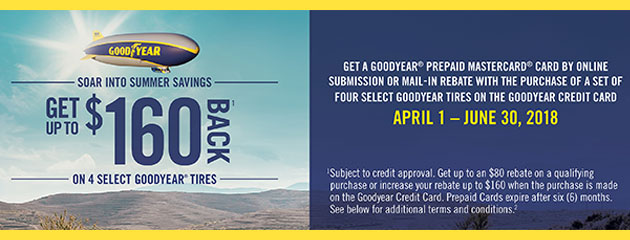 Goodyear CC - Up to $160 Back on 4 Select Tires