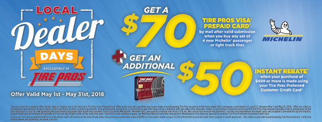 Tire Pros - Michelin Up to $70 Prepaid Card
