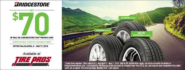 Bridgestone Tire Pros - $70 Back on 4 Select Tires
