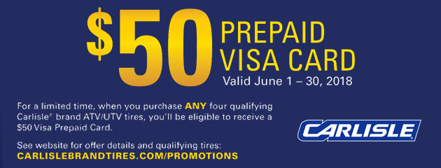 Carlisle - $50 Prepaid Card on Four Select Tires