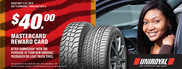 Uniroyal - $40 Reward Card with Four New Tires
