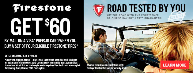 Firestone Tire Pros - Get $60 By Mail on 4 Select Tires