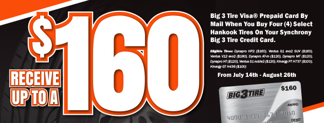 Big 3 - Hankook Up to $160 Visa Prepaid Card