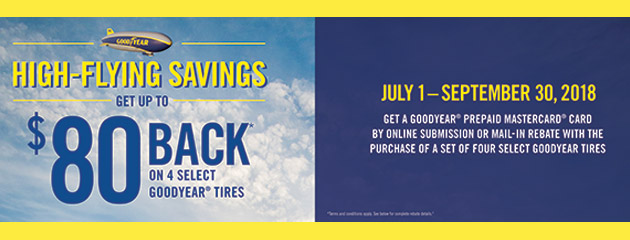 Goodyear - Up to $80 Back on 4 Select Tires