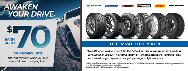 T3 - Earn Up to $70 on Select Tires