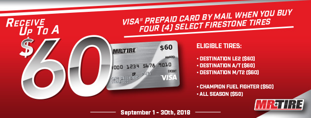 Mr.Tire - Firestone up to $60 Prepaid Card