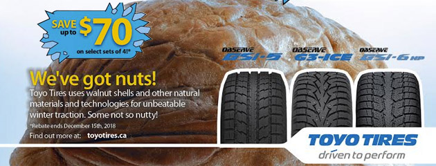 Toyo Tires Canada - Up to $70 On 4 Select Tires