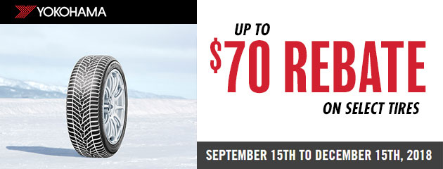 Yokohama Canada - Up to $70 Rebate