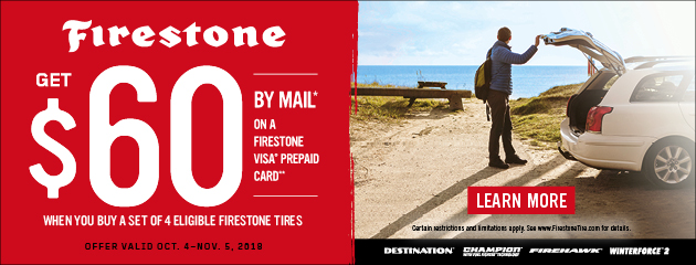 Firestone - $60 Mail in Rebate on Select Tires