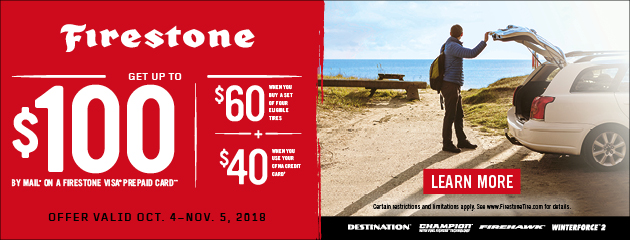 Firestone CFNA - Up to $100 Mail in Rebate on Select Tires