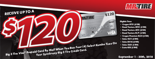 Mr.Tire - Kumho up to $120 Prepaid Card