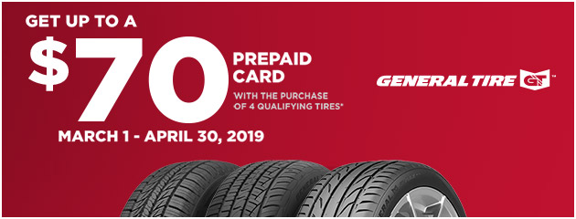 General Tire - Up to $70 Prepaid Card