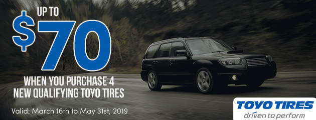 Toyo Tires Canada - Up to $70 Rebate