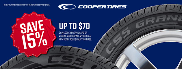 Cooper Tires - Up to $70 on Four New Select Tires