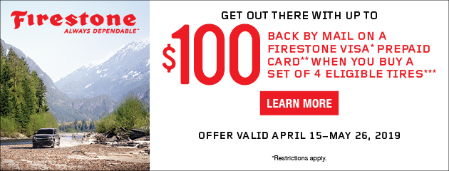 Firestone Canada - Up to $100 Back on Select Tires