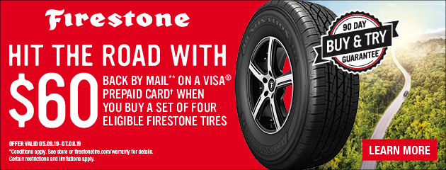Tire Pros Firestone - $60 Back by Mail on Select Tires