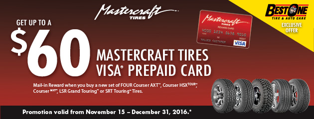 $60 Mastercraft Tires Visa Prepaid Card