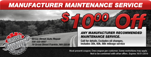 $10 off any manufacturer recommended maintenance service