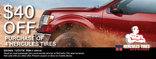 $40 off 4 Hercules Tires