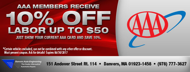 AAA Members Receive a 10% Discount off labor up to $50