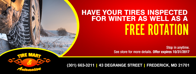 Have Your Tires Inspected for Winter as well as a Free Rotation