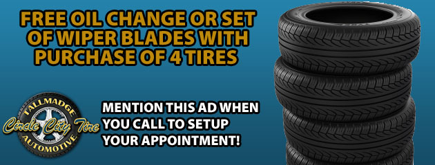Free oil change or set of wiper blades with purchase of 4 tires