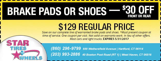 $30 Off Brake Pads or Shoes Coupon