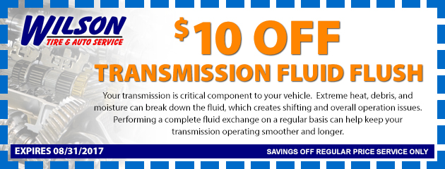 $10 OFF Transmission Fluid Flush