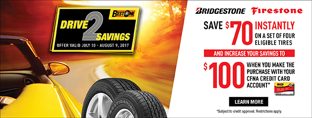 Save up to $100 on purchase of 4 select Bridgestone & Firestone Tires