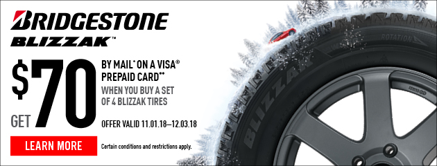 Bridgestone - Up to $70 Visa Prepaid Card