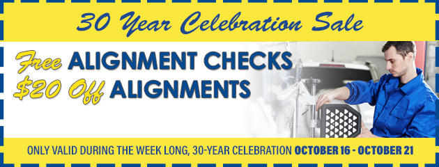 Free alignment checks, $20 off alignments