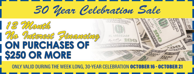 12 Month No Interest Financing on purchases of $250 or more