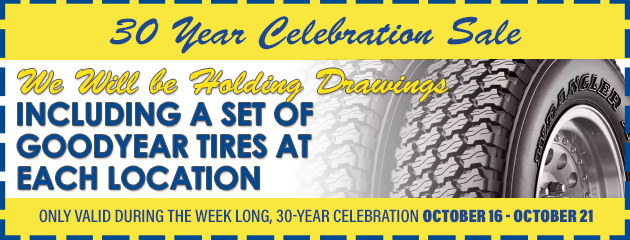 Drawing including a set of Goodyear tires at each location