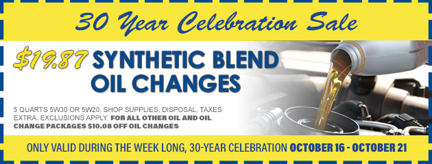 $19.87 Synthetic Blend Oil Changes