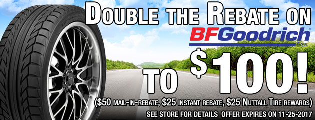 Double the Rebate on BFG Tires - Up To $100!